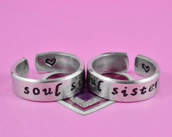 Soul Sister Ring Set,  Hand Stamped Aluminum Matching Pair Rings, Sisters, Best friends, BFF Gift Ring