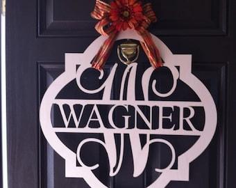 Wooden Name - Unpainted Wood Letters - Initial Door Hanger - Monogram Wreath - Housewarming Gift - Wedding Gift - Personalized Gift