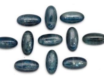 Oblong Kyanite Cabochons 10mm x 20mm Beautiful Blue Green Oval Kyanite Cabochons | African Kyanite Cabochons | Natural Kyanite Cabochons