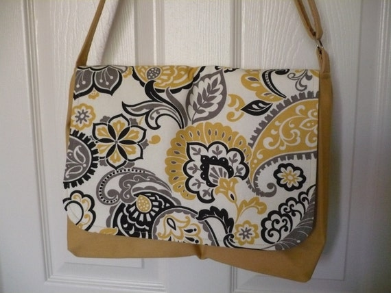 Abstract Yellow & Black Messenger Diaper Bag