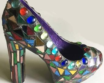 Multi Mirror Mosaic Garden Stake Shoe