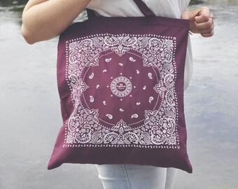Tote Bag Bandana Screenprinted - cotton bag, canvas bag, beach bag, California, graphic pattern, oldschool, graphic, symetrical