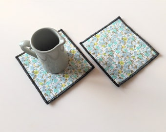 aqua floral mug rugs - aqua blue trivets - set of 2x aque polkadot mug rugs - hostess gift - shabby home decor - floral aqua coasters