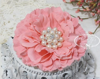 "4.5"" inch PEACH Large Peony Flowers WITH or WITHOUT Rhinestone Pearls Embellishment -Flat Back Layered Peony fabric flowers, Wedding Bridal"