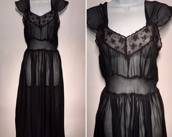 Vintage 1930s 1940s Black Full Slip Nightgown Lingerie Xsmall Lace Excellent 30s 40s
