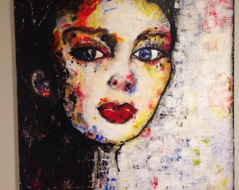 Defiant portrait of a girl-  PRINT from encaustic painting