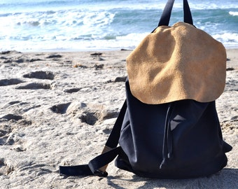 Leathered Canvas Backpack