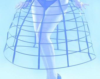 Black color hoop cage skirt long pannier 8 rows plastic boned crinoline performer costume