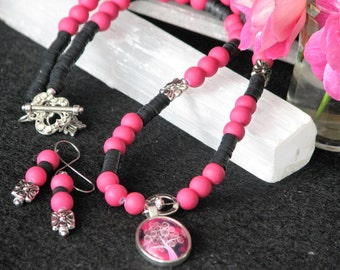 Tree of Life I  resin art pendant fuschia pink beads black polymer clay metal butterfly toggle matching pierced earrings beaded necklace