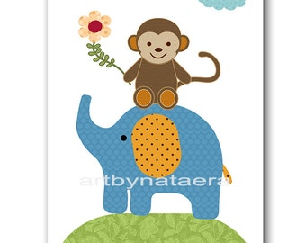 Baby Boy Nursery Art Digital Wall Art Baby Room Decor Elephant Nursery Decor Digital Decor Digital Print 8x10 11X14 INSTANT DOWNLOAD