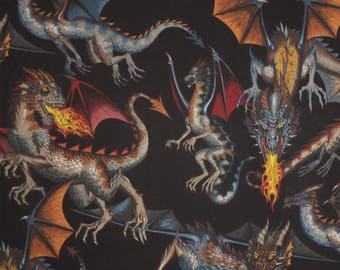 Fabulous Tale of the Dragon Print On Black Pure Cotton Fabric--By the Yard