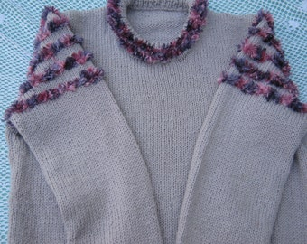 Hand Knitted Sweater - Gorgeous Pale Purple and Faux Fur Jumper/Sweater for a Girl aged around 8 years.
