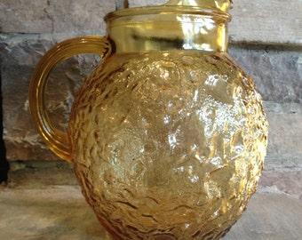 Milano Honey Gold Pitcher Anchor Hocking / Lido Ball Shape Vintage Amber Glass - #4264