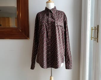 """80s Floral Wrangler Snap Shirt/Brown Western Shirt/Mens Rodeo Shirt/Mens Floral Shirt/Brown Floral Shirt/Size L/30""""Long/46""""Chest/20""""Sleeve"""