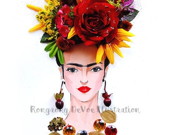 Frida Kahlo Painting, Frida Poster, Frida illustration, Wall Art, Wall Decor