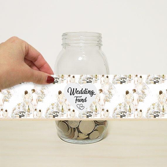 Wedding Money Gift: Wedding Fund Digital Label For DIY Money Jar Wedding Gift