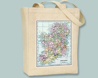 Vintage Map of Ireland NATURAL or BLACK Canvas Tote -- Selection of sizes available