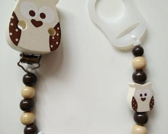 Pacifier clip/owl, OWL/owl, wood and Brown bead