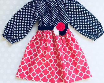 Navy and Peony Pink Girl's Dress - Easter Dress for Girls - Baby Girl Dress - Girls Dresses - Baby Dresses - Baby Girl Easter Dress - Easter