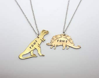 RAWR Dinosaur Necklace | Stegosaurus - Brontosaurus - T-Rex Dinosaur Jewelry | Brass Necklace | Science Gift