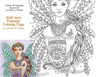 punzella fairy tangles printable coloring book pages and sheets by norma j burnell adult printable coloring pages digital coloring files