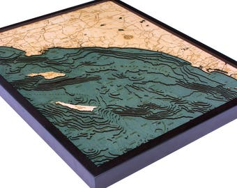 LA to San Diego Wood Carved Topographical Depth Chart / Map