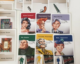 CLUE GAME Cards / 21 Clue Replacement Game Cards for Altered Art, Mixed Media, Collage