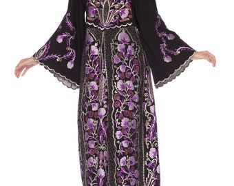 1970s-metallic Floral Embroidered Kaftan Size: S