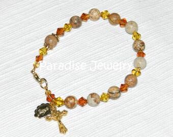 Rosary Bracelet Crucifix and Miraculous Medal Charms Jasper Gemstone Bracelet Catholic Bracelet Catholic Gifts