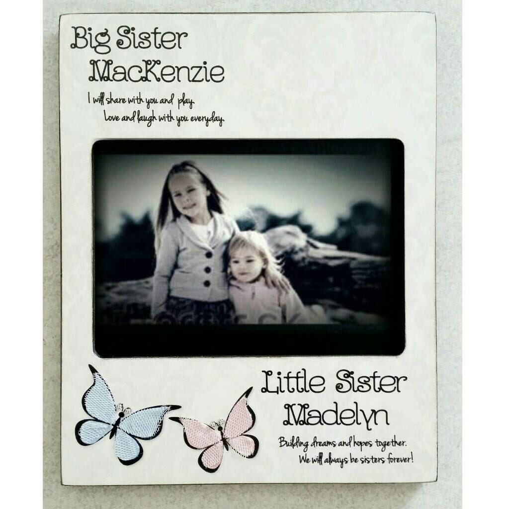 Sisters Picture Frame Big Sister Little Sister Big Sis Butterfly ...