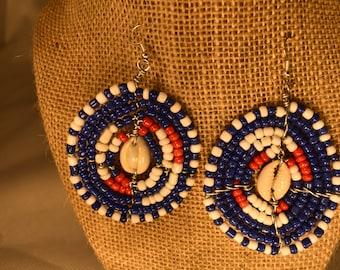 Massai Beaded Earrings, Cowrie Shell.