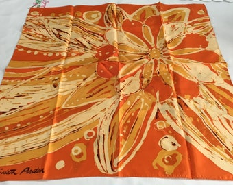 Vintage Womens Elizabeth Arden Orange Gold Floral Design S63
