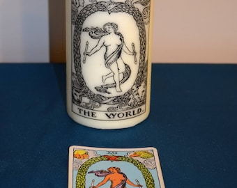 World Tarot candle , altar candle , candle magic, divination, prayer candle , meditation candle,