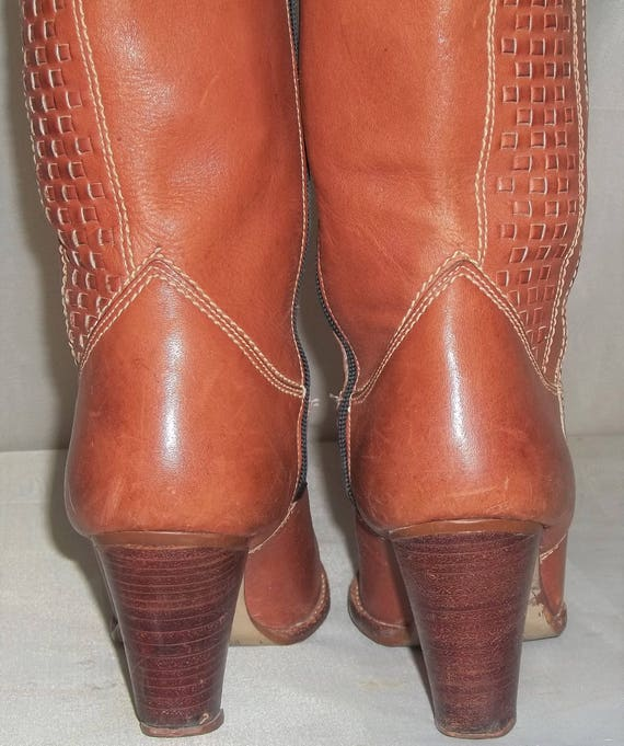1970's Nine 2B Leather BOHO Vintage 1 9 West Womens 5 Stacked Boots Heel dASUq5