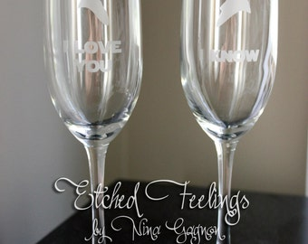 Cameo Star Wars Champagne Glasses Set - I love you, I know - Perfect toasting/wedding glasses for a Star Wars themed wedding or anniversary