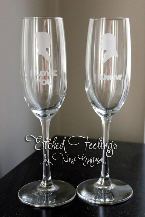 Cameo Star Wars Champagne Glasses Set I Love You I Know