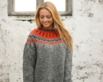 Handmade sweater from pure Icelandic wool