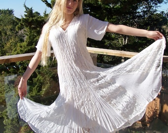 Lace Dress, Ivory Lace dress, 80s lace dress, short sleeve dress, size  L