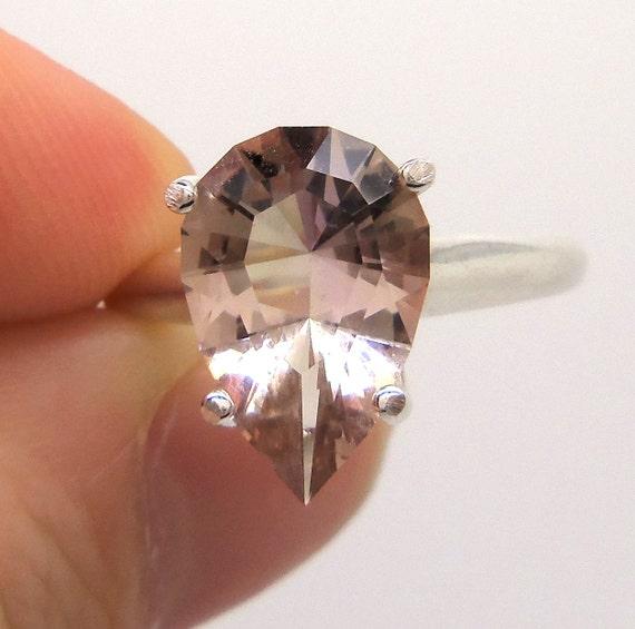 3.50 Carat Purple and Yellow Ametrine Gemstone Ring Size 7 1/4 Sterling Silver Hand Cut Gem