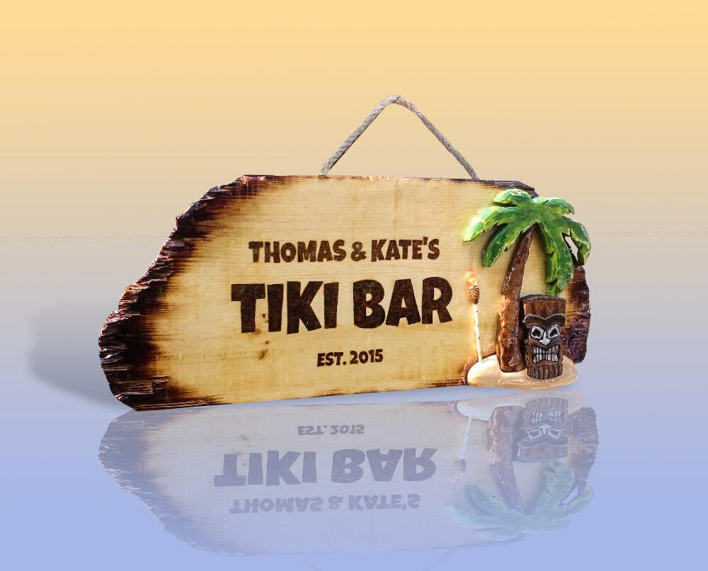 Custom Tiki Bar Signs Personalized Tiki Hut sign Wooden