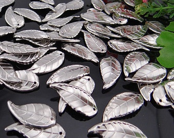 12 Leaf Charms Silver Tone Plastic 30 x 14 mm - pa123