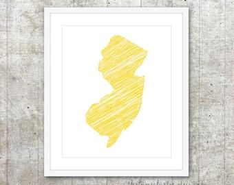 State of New Jersey Art Print - Custom State Poster - Yellow - Modern Minimalist Wall Art