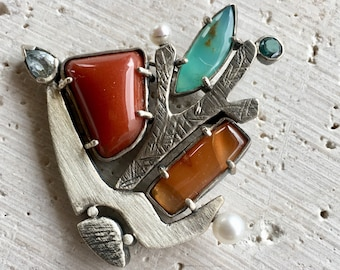 Winter Willows Sterling Silver and Mixed Stone Brooch