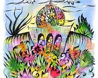 Washington DC, Botanical Garden, National Mall, Print, Original Work, Pen, Watercolor, Digital, Mixed Media, 5x7