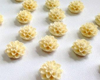 NEW 15mm Resin Flower Cabochon - dahlia mum- cream - QTY 10