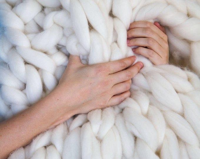 Luxury Chunky Knit Blanket - Merino Wool Blanket  - Chunky Blanket