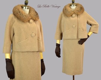 Robert Knox Tan Wool Suit S M Vintage 60s Jacket Pencil Skirt Set ~ Fur Collar
