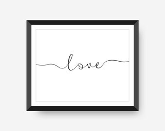 Love Quote Calligraphy Typography Wedding Home Decor 8x10 Digital Download Black and White Nursery Office Dorm Room Art