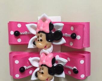 Minnie Girl Hair Clips- Handmade