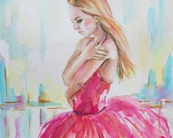 Original ballerina painting,ballerina art,ballerina watercolor,young ballerina,pink ballerina,ballet painting,ballet watercolor,ballet art